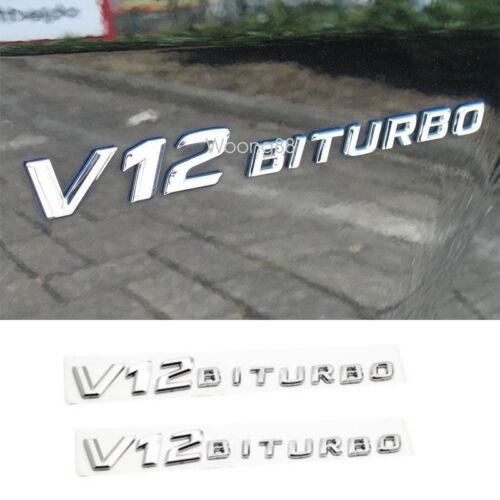 2x 3D Letter Letter Badge Side Fender Emblem Sticker For Mercedes SLCL65 CLS600