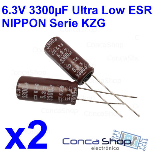 2 x CONDENSADOR ELECTROLITICO NIPPON 6.3V 3300uF 105º Serie KZG ULTRA LOW ESR