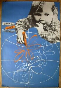 Czech Original POSTER PEACE on Russian Soviet propaganda children Khauzner
