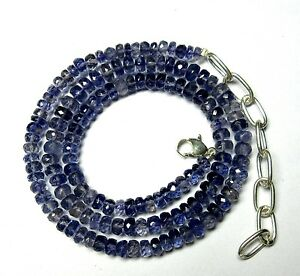 """90 CT Natural Iolite Gemstone Rondelle Faceted 4-5.5mm Beads 19.5"""" NECKLACE S27"""