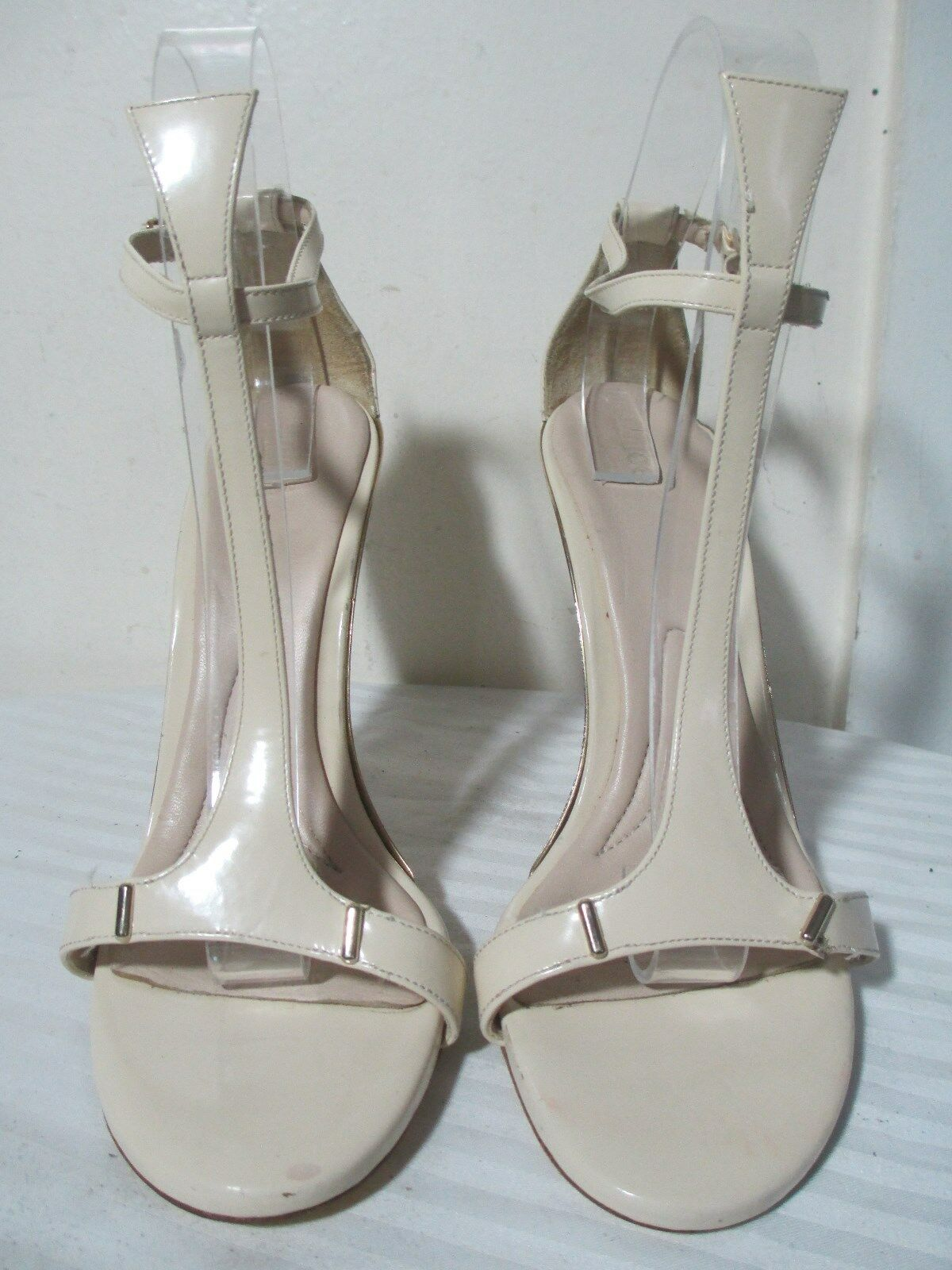 CHLOE BEIGE PATENT LEATHER HEELS HEELS HEELS FASHION T SANDALS SZ 40 US 9.5 MADE IN ITALY 7811f5