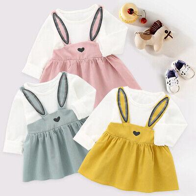 Baby Ragazze Bambini Party Vestiti Principessa Abito Manica Lunga Coniglio Bendaggio Vestito Nuovo-