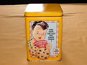 """FOOD AD 6 1/4"""" HIGH NESTLE CHOCOLATE  TOLL HOUSE COOKIE   TIN CAN    EMPTY"""