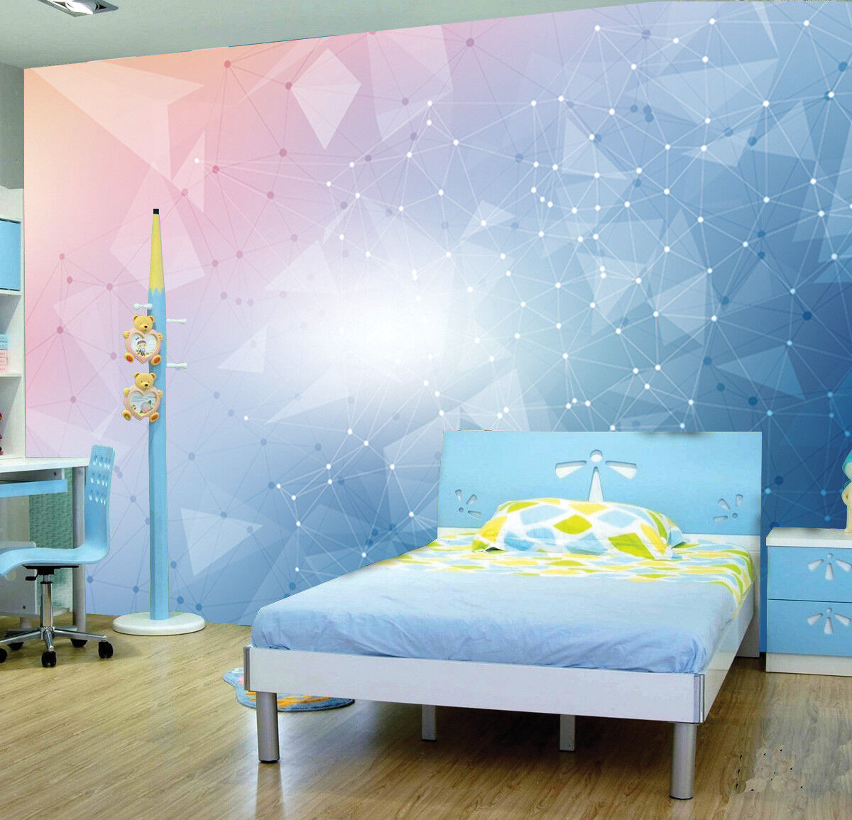 Details about Pink Blue Patel Colour Geometric Wallpaper Photo Mural Kids  Bedroom Home deco