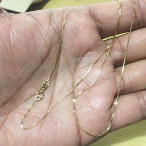 e5aef5c28 14k Solid Yellow Gold Classic Box Necklace Pendant Chain 18