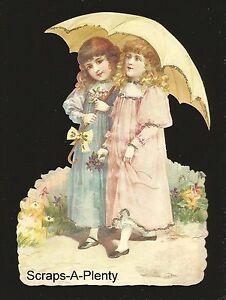 German Embossed Scrap Die Cut - Lrg Victorian Dressed Children w/Umbrella BK5158