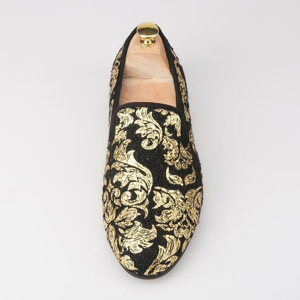 Chic Uomo Loafers Gold Printed Party Flats Gold Loafers Solid Round Toe Slip On Lint Shoes New 9fc785
