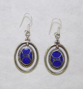 Asian-Tribal-Ethnic-sterling-silver-earrings-Asian-Lapis-jewelry-Handmade-E8