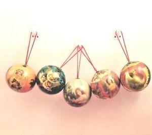Paper Mache Christmas Ornament.Details About 5 Vintage Paper Mache Christmas Ornaments Angel Round Balls 5 Set