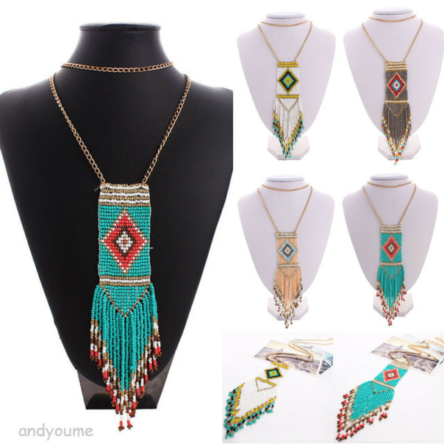 Bohemian Handmade Seed Beads Tassels Dangle Choker Statement Bib Necklace Chain