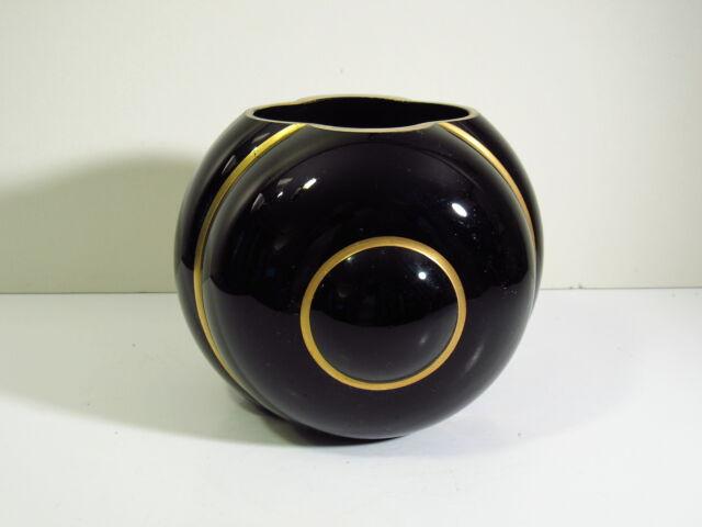 George Sakier Design For Fostoria Glass 2404 Art Deco Vase Ebony