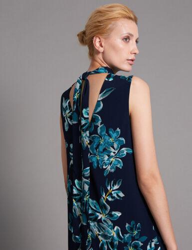 M/&S Autograph Navy Blue Mix Floral Shift Dress Sz UK 6 8 10 12 14 16