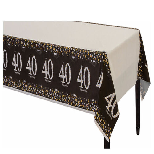 Sparkling Celebration 40th Birthday Table Cover Fortieth Party Decoration ~ 40