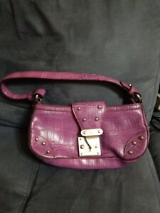 J-LO-JENNIFER-LOPEZ-LILAC-LEATHER-STUDDED-ZIPPERED-SATCHEL-BAG-HANDBAG-PURSE