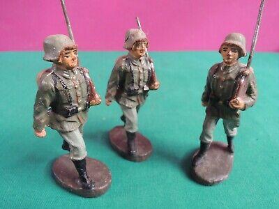 *l68*- 3 Soldatini In Pasta - 7,5 Cm - Elastolin Germany- Giocattolo Vintage Negozio Online