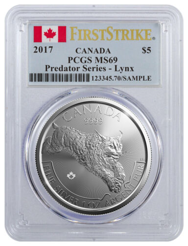 2017 Canada $5 1 oz Flag Lynx PCGS MS69 FS Silver Predator Series SKU45430