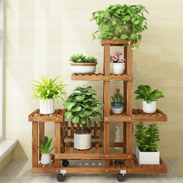 6 Tier Wooden Pedestal Plants Stand Rack Flowers Cactus Dining Room Patio Porch For Sale Online Ebay