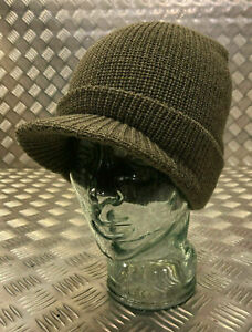 Genuine-US-Army-Green-OD-Peak-Radar-Hat-Peaked-Watch-Cap-100-Wool-NEW