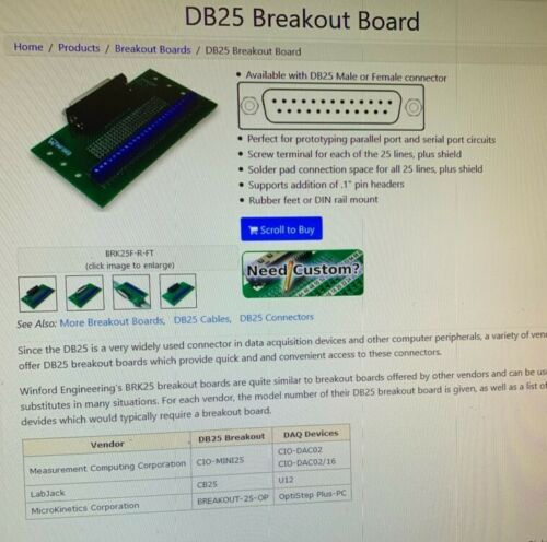 BRK25F WINFORD PC BREAKOUT BOARD DB25 Female R//A Connector DIN Rail Mount