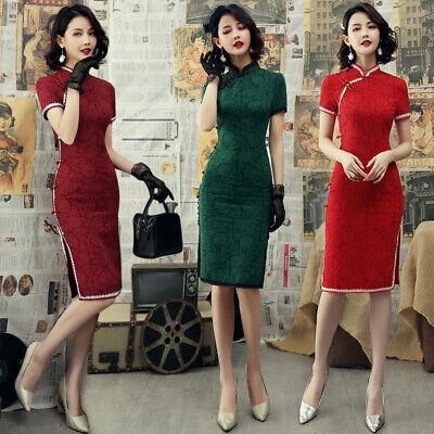 H/ÖTER Womens Qipao High Split Slim Dress Printed Long Sleeve Vintage Chinese Silk Cheongsam S-2XL