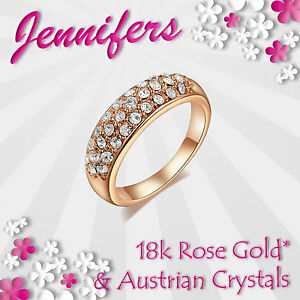 Fashion-Ring-Rose-18ct-Gold-Ladies-Women-Girls-Crystal-Gemstones-Valentine-NEW