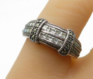 925-Sterling-Silver-Vintage-Topaz-amp-Marcasite-Two-Row-Band-Ring-Sz-8-R13967