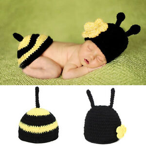 Newborn-Baby-Girl-Boy-Crochet-Knit-Bee-Costume-Photo-Photography-Prop-Outfit-set
