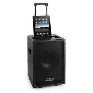 OCCASION-SONO-PORTABLE-PRO-MALONE-ENCEINTE-AMPLIFIEE-DJ-20cm-8-034-iPOD-DOCK-XL