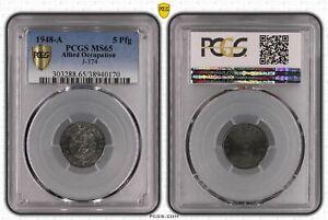 Alliierte Besetzung 5 Pfennig 1948 A PCGS zertifiziert pcgs MS65 50907