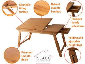 Madera-de-Bambu-Extensible-Laptop-Computadora-Notebook-Bandeja-de-Cama-sofa-plegable-Soporte-De