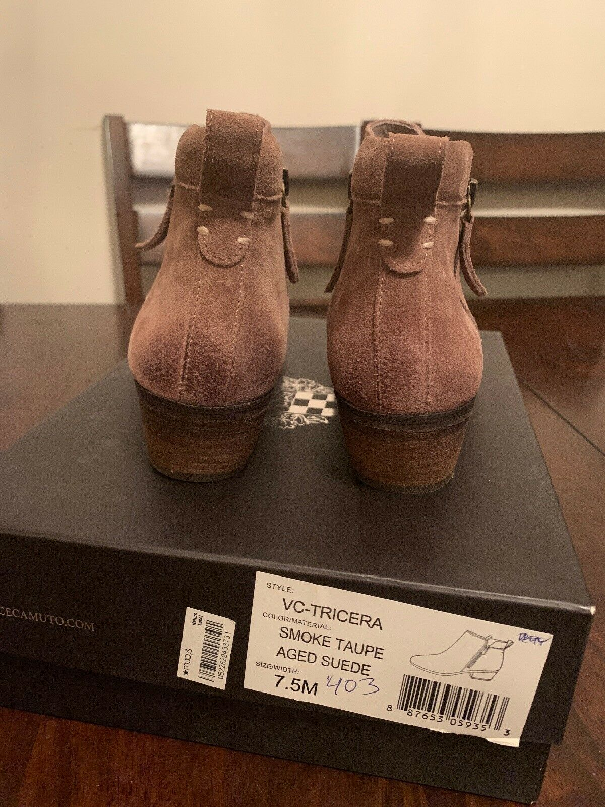 Vince Vince Vince Camuto Women's Smoke Taupe, Aged Suede Tricera zip Ankle Boots Size 7.5M 2a868f