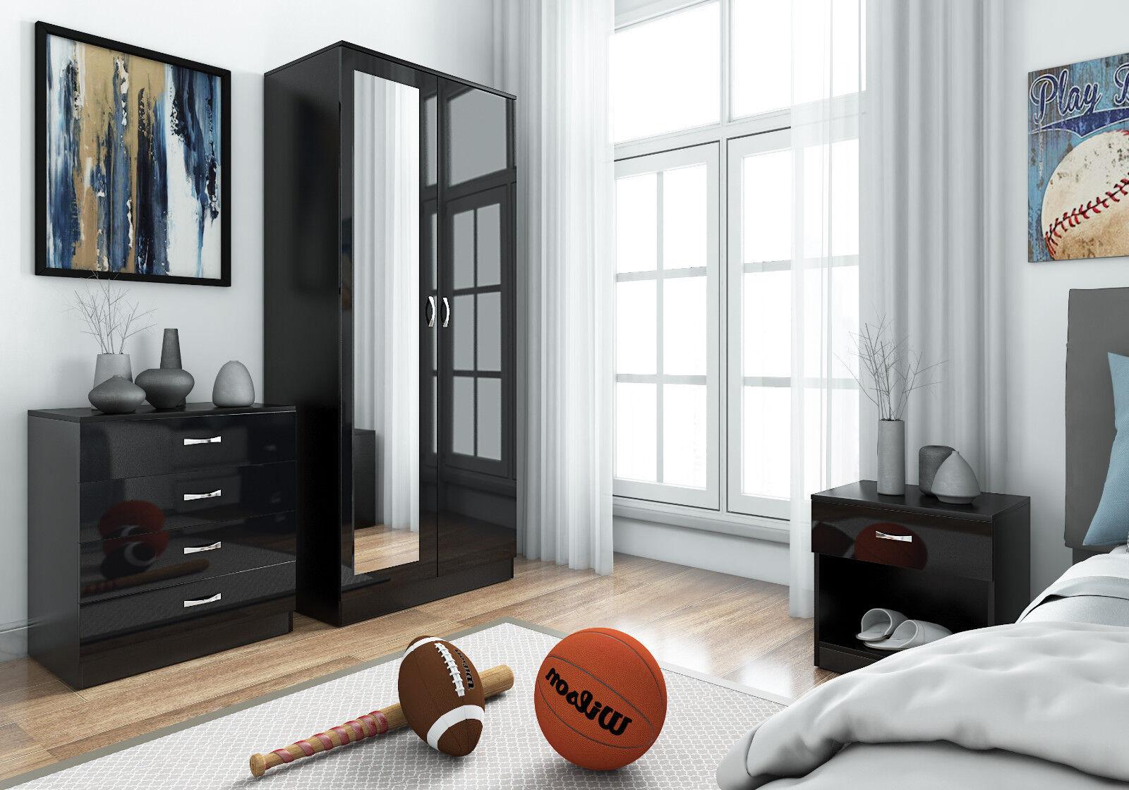 harmin mirrored black high gloss bedroom furniture