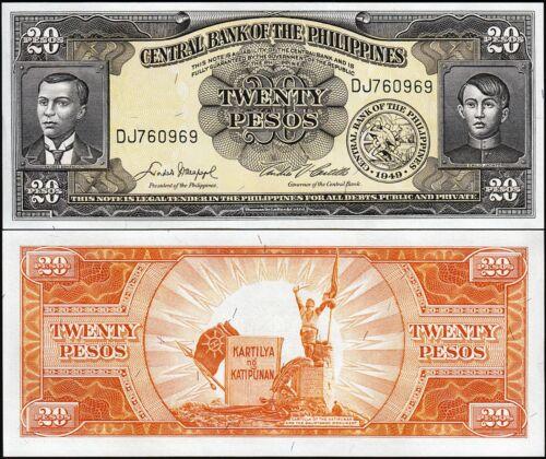 Philippines 20 Pesos 1949 Prefix DJ 20 Pcs LOT UNC P-137d Consecutive