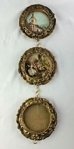 Vintage-lot-3-Gold-ornate-Hong-Kong-Plastic-Round-Picture-frames