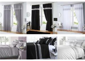Silver Grey Black White Diamante Duvet Sets Curtains