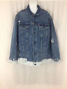 Men-039-s-Levi-039-s-Baez-bleached-blue-jean-denim-trucker-jacket-size-3XL-New-tags