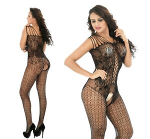 96dae10cc24 Image is loading Fishnet-Seamless-Crotchless-Floral-Strap-Shoulder- Bodystocking-Lingerie-