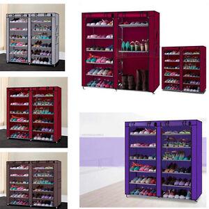 Home-Shoe-Rack-Shelf-Storage-Closet-Organizer-Cabinet-6-Layer-12-Grid-W-Cover