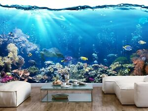 Details About Sea Ocean Fish Coral Reefs Turtle Photo Wallpaper Mural Underwater Life Poster