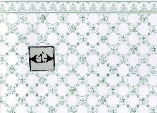 Dutch Tile green on white wallpaper Jackson/'s Miniatures dollhouse 1pc JM07