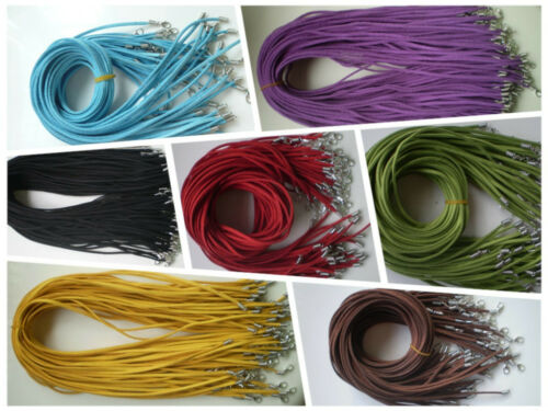 10//100pcs Suede Leather Cord Necklace With Lobster Clasp Charms Jewelry Cords
