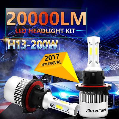 H13 9008 200W 20000LM COB CREE LED Headlight Kit High/Low Beam Bulbs 6000K Power