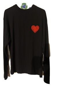 NWT-PALM-ANGELS-Black-Cotton-Pin-Heart-Long-Sleeve-T-Shirt-Size-M-Missing-Pin
