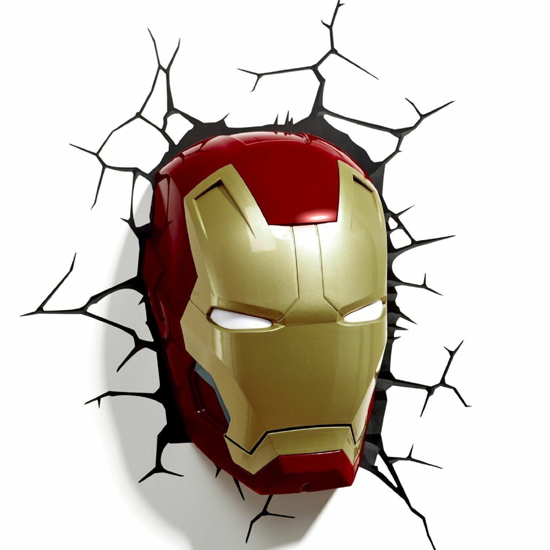 Avengers 3d Fx Deco Led Light IRON MAN FACE Helmet Mask Wall Decoration