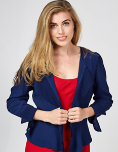 Ghost London Crepe Waterfall Front Marcie Jacket Navy XL