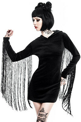 Killstar Black Lone Wolf Fringe Sleeves Velvet Hooded Mini Dress Sz S Goth Rock