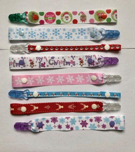 Achetez 3 obtenez gratuitement une!!! Nouveau bébé cadeau de Noël Xmas Ribbon Dummy Clip!!