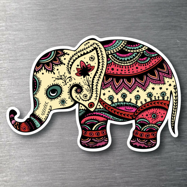 Elephant colourful X large sticker 7 yr water & fade proof vinyl laptop ipad car
