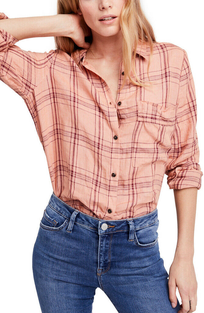 Free People Womens No Limits OB769748 Top Relaxed Peach Pink Size XS