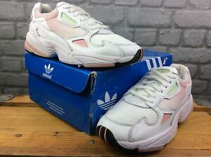 Adidas OG Femmes UK 7 EU 40 2/3 Falcon Blanc Rose Vert Menthe Baskets RRP £ 80 m